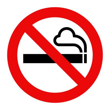禁煙の標識。白い背景に分離された喫煙禁止記号  イラスト・ベクター素材