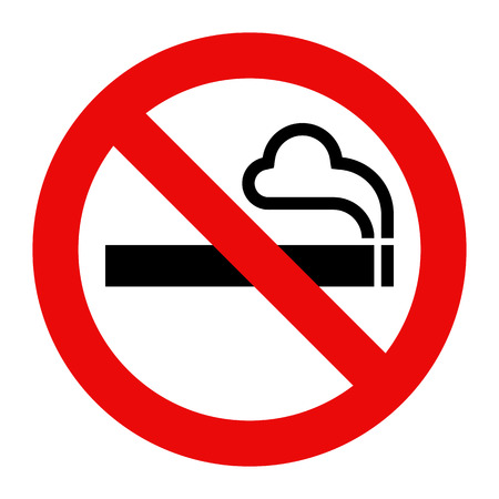 Niet roken teken. Roken verboden symbool geïsoleerd op een witte achtergrond