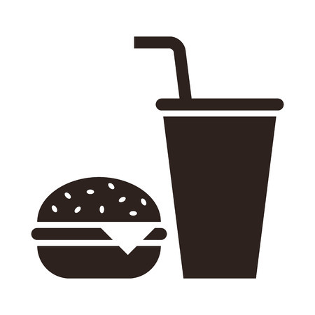 sandwich white background: Fast food. Hamburger and drink icon isolated on white background