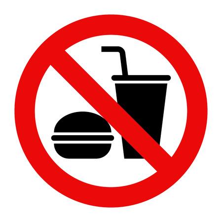 interdiction: Ne pas manger et pas de boissons autorisés isolé sur fond blanc