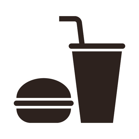 Fast food. Hamburger and drink icon isolated on white background