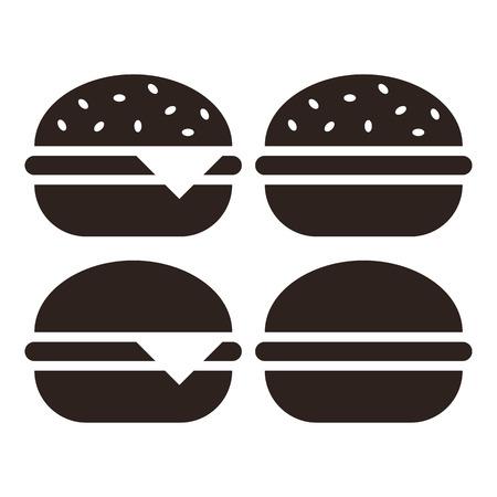 american cuisine: Hamburger icon set  isolated on white background Illustration