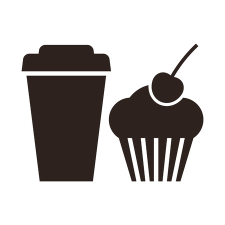 Muffin and coffee to go icon isolated on white background Vector