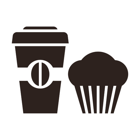 Muffin and coffee to go icon isolated on white