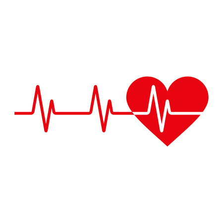 ecg heart: Heartbeat icon. Electrocardiogram, ecg or ekg isolated on white background