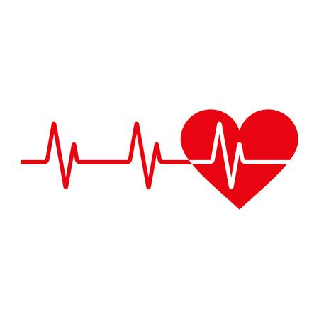 Heartbeat ikona. Elektrokardiogram, EKG lub EKG na białym tle
