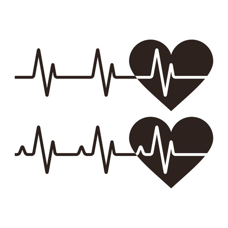 Heartbeat icons. Electrocardiogram, ecg or ekg isolated on white background