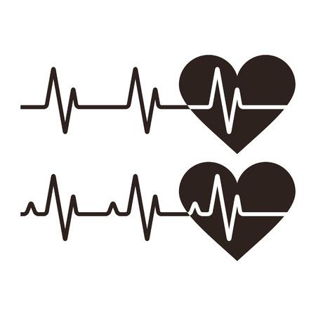 Heartbeat pictogrammen. Elektrocardiogram, ecg of ekg op een witte achtergrond Stock Illustratie