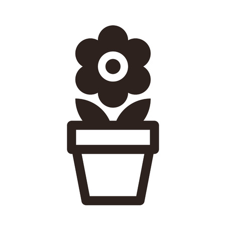 abstract flower: Flower in pot icon isolated on white background