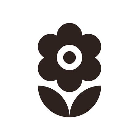 silhouette fleur: Fleur icône isolé sur fond blanc Illustration