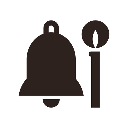 church bell: Bell and candle - church symbols isolated on white background Illustration