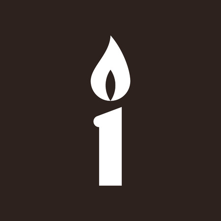 paraffin: Candle icon. Fire symbol on dark background