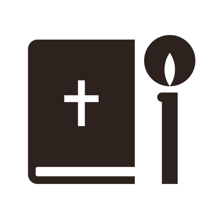 Bible and candle icon. Church symbol  isolated on white background