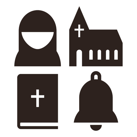 iglesia: Nun, iglesia, biblia y los iconos de la campana. Símbolo de Iglesia conjunto aislado sobre fondo blanco Vectores