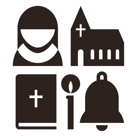 catholic: Nun, church, bible, candle and bell icons. Church symbol set isolated on white background