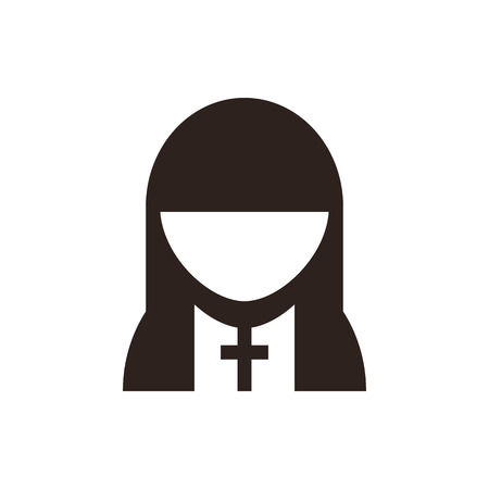 humility: Nun symbol  isolated on white background