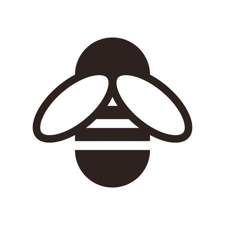 abejas: Icono de abeja aislado en el fondo blanco