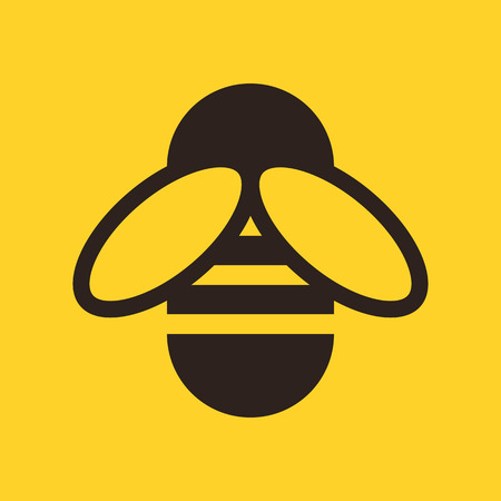 bumble bee: Bee icon on yellow background
