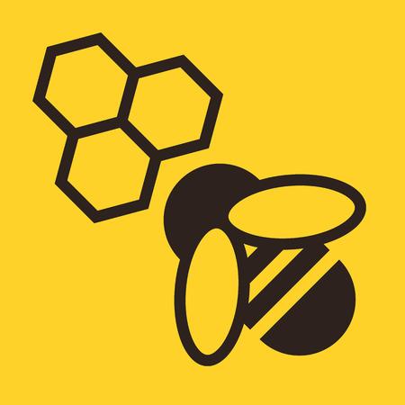 bee: Пчела и соты значок на желтом фоне