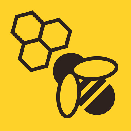 Bee and honeycombs icon on yellow background