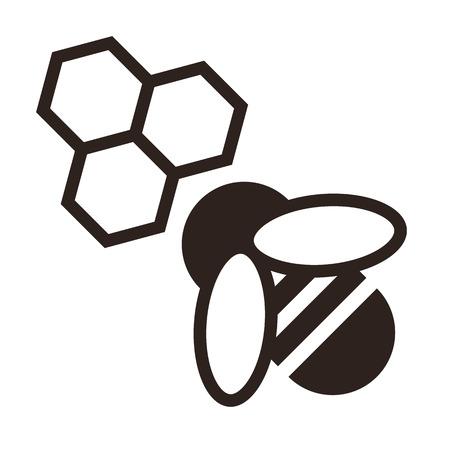 白い背景に分離された蜂と蜂の巣のアイコン  イラスト・ベクター素材