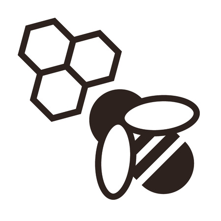 Bee and honeycombs icon isolated on white background Illustration
