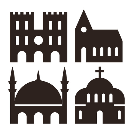 the catholic church: Cathedral, church and mosque icons isolated on white background Illustration