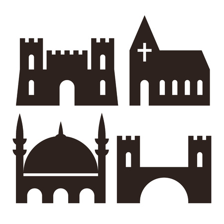 fortress: Castle, church, mosque and bridge icons isolated on white background