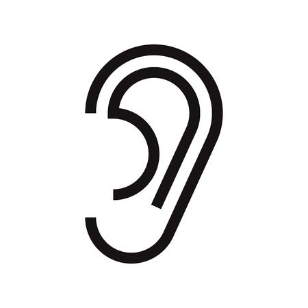 oido: Icono del oído aislado en fondo blanco