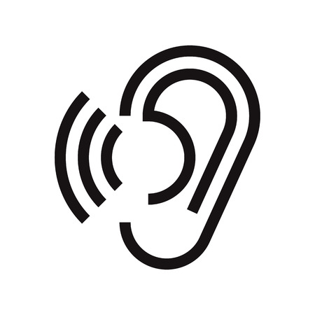 Ear icon. Hearing symbol isolated on white background
