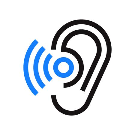 귀 아이콘입니다. 기호 청력 흰색 배경에 고립