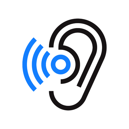 hearing aid: Ear icon. Hearing symbol isolated on white background