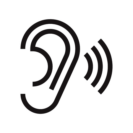 listen ear: Ear icon. Hearing symbol isolated on white background
