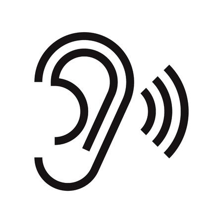 Ear icon. Hearing symbol isolated on white background