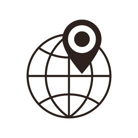 internet mark: Globe and map pin icon isolated on white background