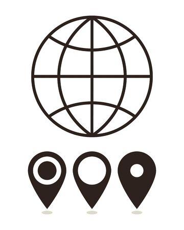 internet mark: Globe and map pin icons  isolated on white background Illustration