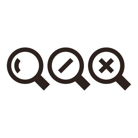 magnifying glass icon: Magnifying glass icon set isolated on white background