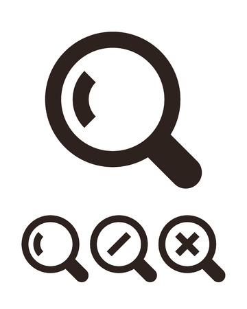 Magnifying glass icon set isolated on white background