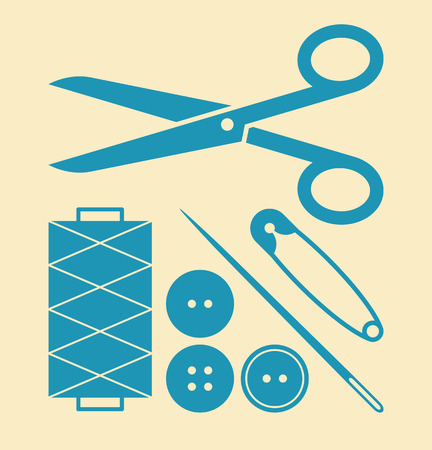 sewing buttons: Sewing equipment and needlework set on light background