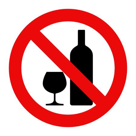 Žádný alkohol znamení. Výstražné znamení izolovaných na bílém pozadí