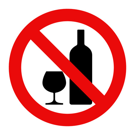 Geen alcohol teken. Waarschuwingsbord op een witte achtergrond