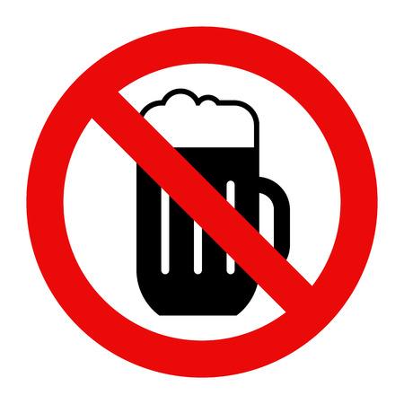 알코올 흔적은 없습니다. 흰색 배경에 고립 된 맥주 경고 흔적 일러스트