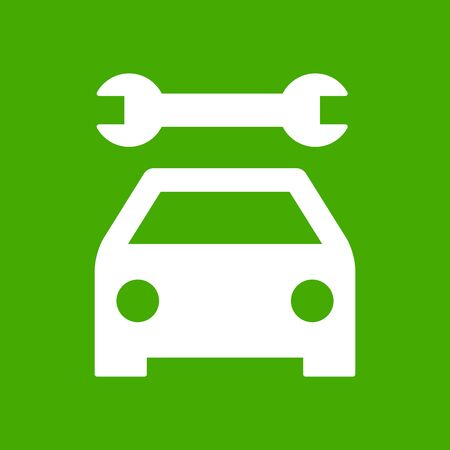 Car service icon. Auto repair shop sign on green background