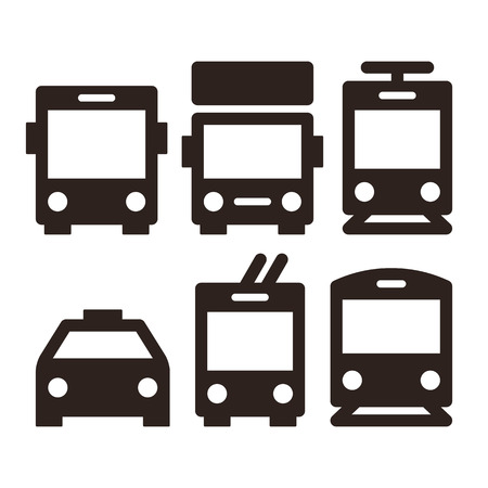 Public transport icons - bus, truck, streetcar, taxi, trolley bus and train Çizim