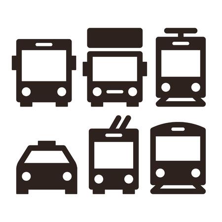 szállítás: Tömegközlekedés ikonok - busz, teherautó, villamos, taxi, trolibusz és vonat Illusztráció