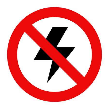 electrocute: No lightning icon isolated on white background Illustration
