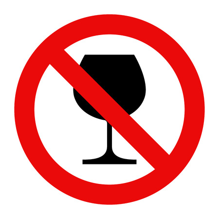 not permitted: No alcohol sign. Warning sign isolated on white background