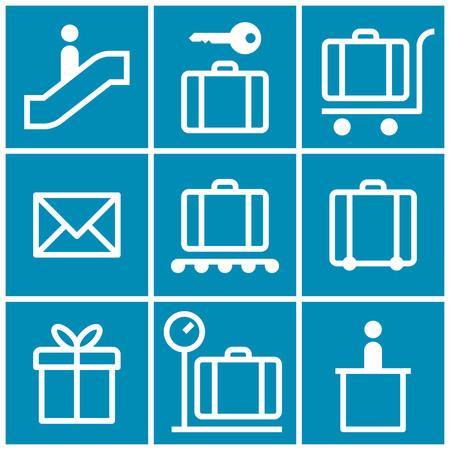 internet terminals: Baggage cart, Suitcase, Baggage claim, Baggage storage, Escalator, Information, Gift. Travel icons set  on blue background Illustration