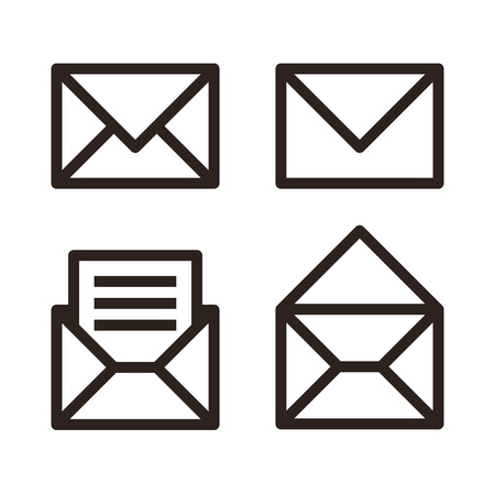 Mail icon set. Envelope sign isolated on white background Ilustracja