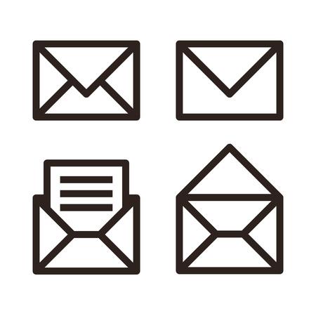 Mail icon set. Envelope sign isolated on white background Illustration